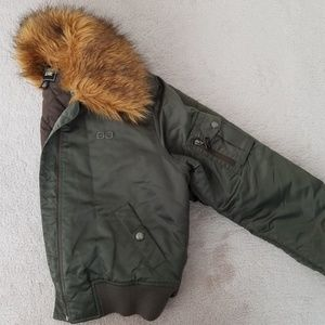 Guess Army Green Bomber Jacket with Fur Trim
